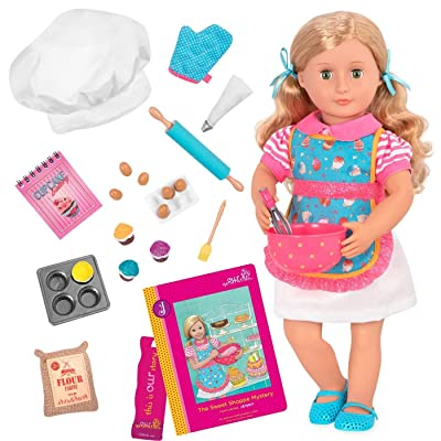 "Our Generation Doll by Battat- Jenny 18"" Deluxe Posable Baking Fashion Doll- for Girls Aged 3 Years & Up: Toys & Games"