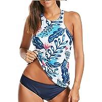 Women Tankini Swimsuit High Neck Halter Tummy Control Two Piece Bathing Suit