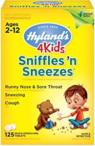 Cold Medicine with Zinc for Kids Ages 2+, Hyland's 4 Kids Sniffles n' Sneezes Tablets, Decongestant, Headache and Sinus Relief, Natural Treatment for Allergy and Common Cold Symptoms, 125 Count