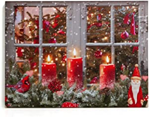 "NIKKY HOME 16"" x 12"" Christmas LED Lighted Canvas Wall Art Prints Cardinal and Candles Picture for Holiday Decor, Window Scene"