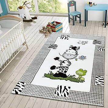Tt Home Kinder Teppich Moderner Spielteppich Zebra Und Frosch Im
