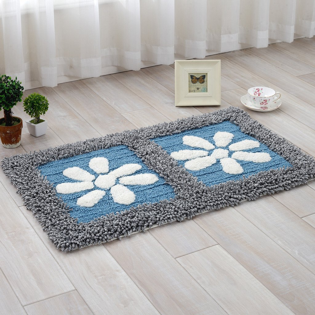 TOFERN 100% Cotton Chenille Shaggy Flowers Non-slip Rug Fluff Absorbent Durable Skin-friendly Machine Washable Anti-fading Doormat Home Decor Carpet Entrance Mats Dirt Barrier Mats, Blue, 50X80cm