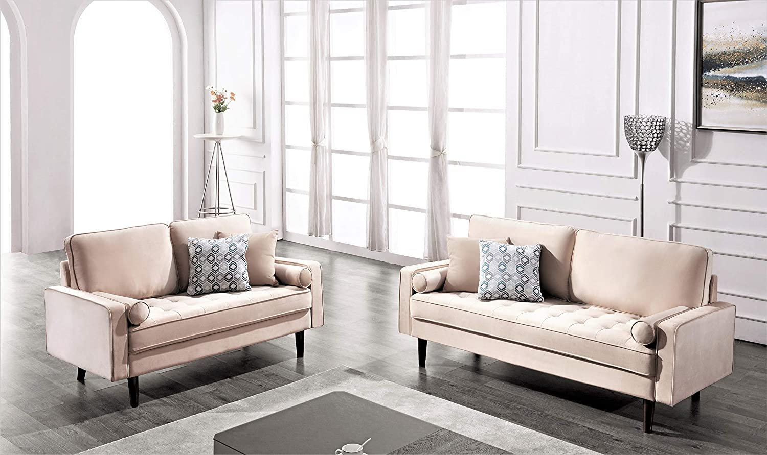 Best Velvet Sofa: US Pride Two Different Style Modern Sectionals.