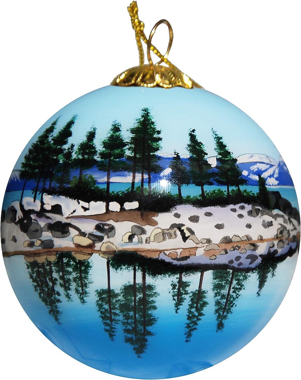 Art Studio Company Hand Painted Glass Christmas Ornament - Lake Tahoe Scenery