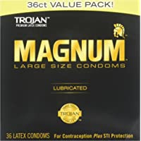 Ice Fire TROJAN Magnum Lubricated Latex Large Size Condoms, 36 ea