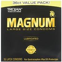 TROJAN Magnum Lubricated Latex Large Size Condoms, 36 ea
