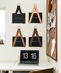 KEYAIIRA - Leather Hanging File Holder - file storage organizer wall hung magazine rack file holder for wall organization office decor storage strap mail wall mount, vinyl record, media storage