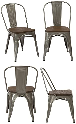 BTEXPERT Industrial Metal Vintage Tabouret Antique Distressed Dining Bistro Cafe Stackable Side Chair Wood Seat Set of 4