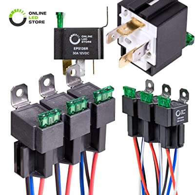 ONLINE LED STORE 6 Pack 4-Pin 12V Bosch Style Fused Relay Switch Kit [Interlocking Harness Socket Holder] [14 AWG Hot Wires] [SPST] [30 Amp] 12 Volt Automotive relays with Fuse for Auto Cars: Automotive