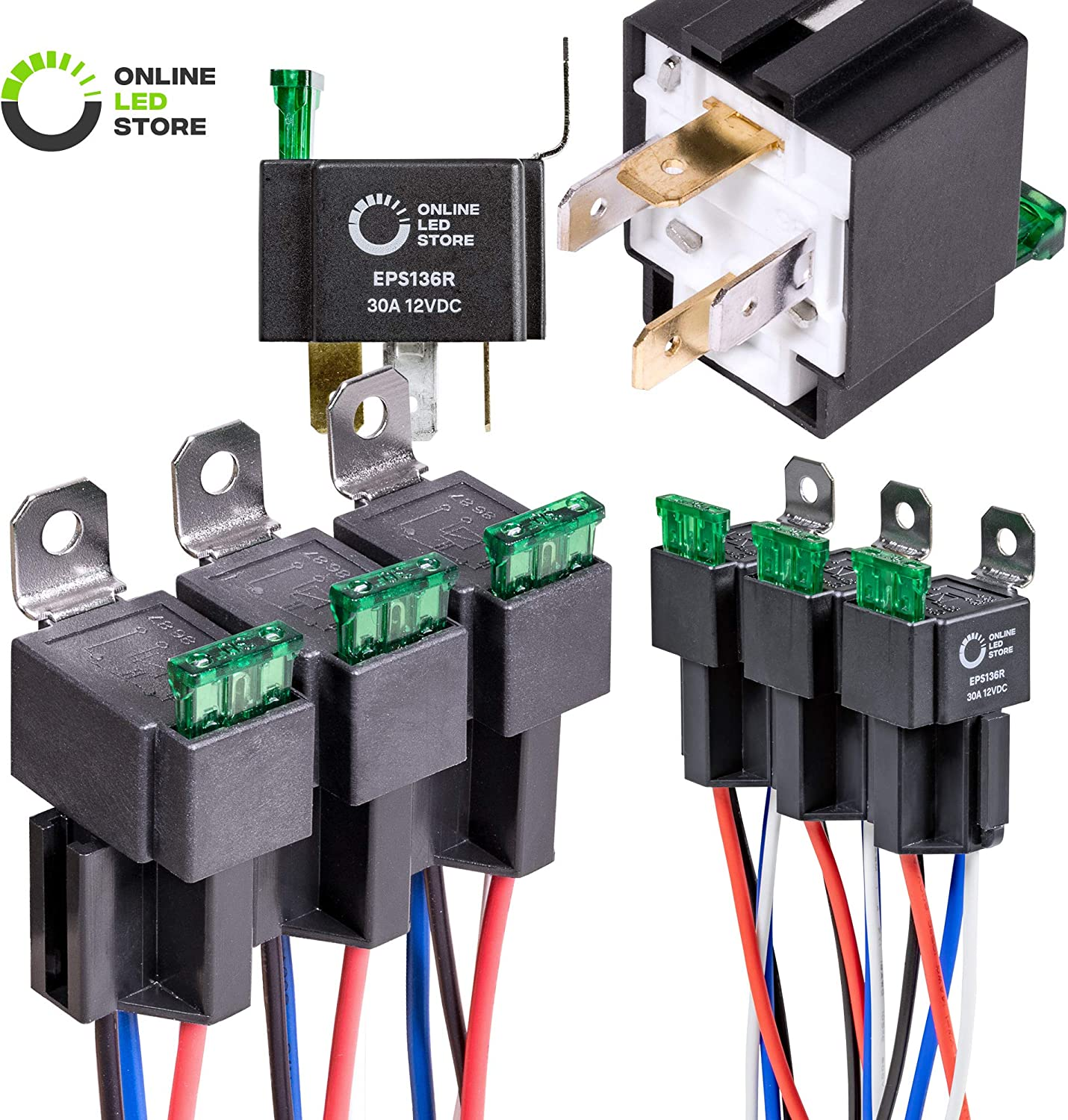 [SCHEMATICS_48IU]  Amazon.com: ONLINE LED STORE 6 Pack 4-Pin 12V Bosch Style Fused Relay  Switch Kit [Interlocking Harness Socket Holder] [14 AWG Hot Wires] [SPST]  [30 Amp] 12 Volt Automotive relays with Fuse for | Integrated Wiring Fuse Box |  | Amazon.com