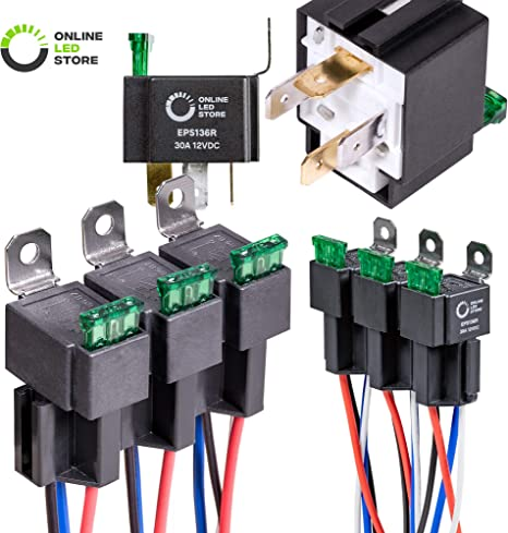 ONLINE LED STORE 6 Pack 4-Pin 12V Bosch Style Fused Relay Switch Kit on a golden box, a nickelodeon box, a power box, a cable box, a tornado box, a panel box, a spring box, a frame box,