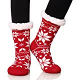 Dosoni Women's Fleece Lining Fuzzy Soft Christmas Knee Highs Stockings Slipper Socks