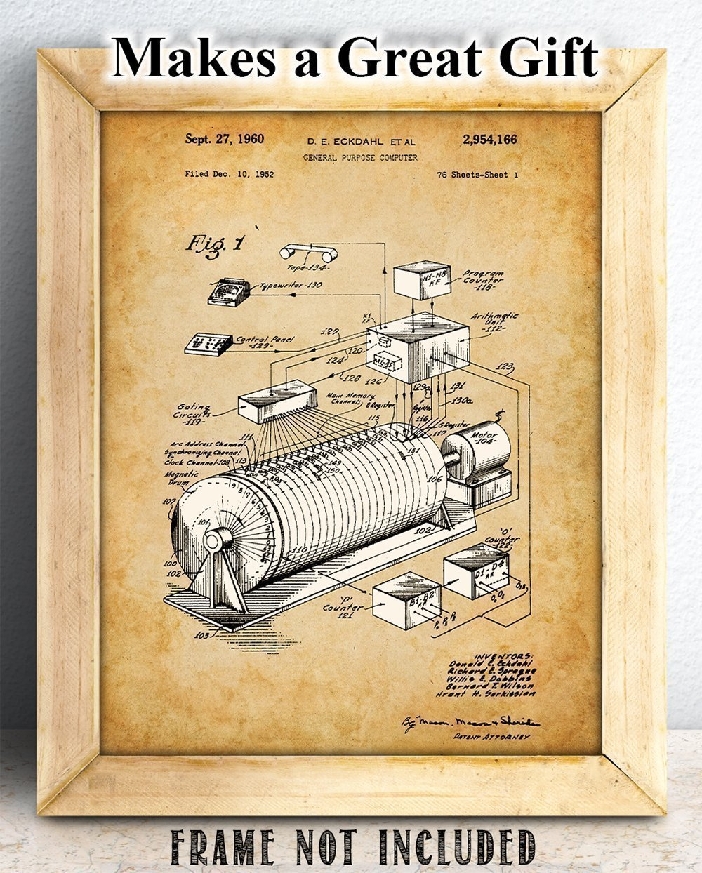 Eckdahl Computer 1960 Patent - 11x14 Unframed Patent Print - Great Gift for IT Professionals, Programmers and Geeks by Personalized Signs by Lone Star Art (Image #3)