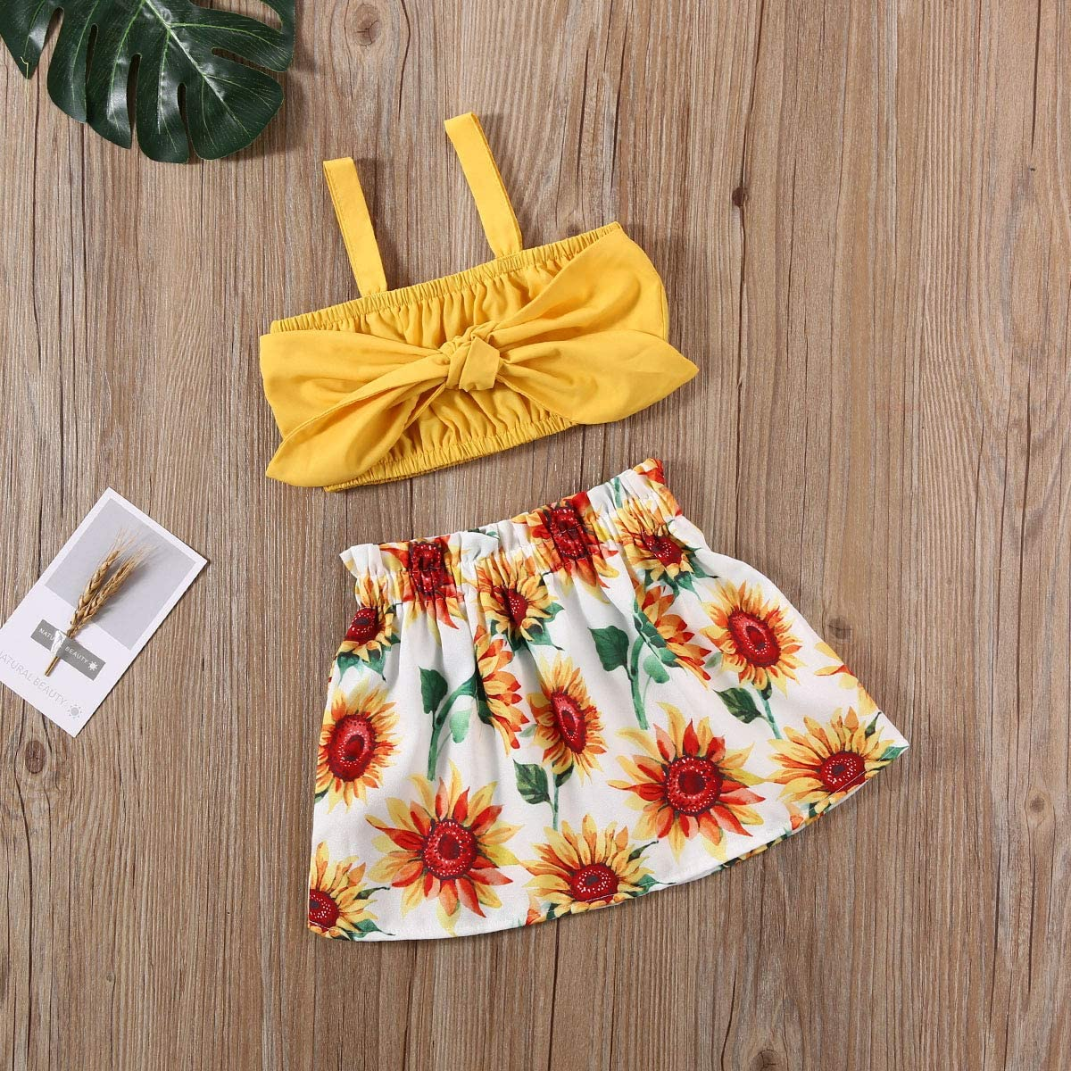 Toddler Baby Girls Ruffle Strap Top+Floral Skirt Summer Outfit Clothes Two Piece Set