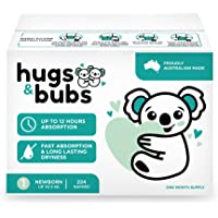 Hugs & Bubs, Size 1 Newborn nappies (up to 5kg), 224 nappies, One Month Supply