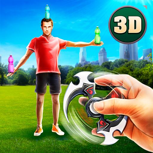 Fidget Spinner Aiming Bottle Skeet Shoot Expertise: Hipster Throwing Contest Game ()