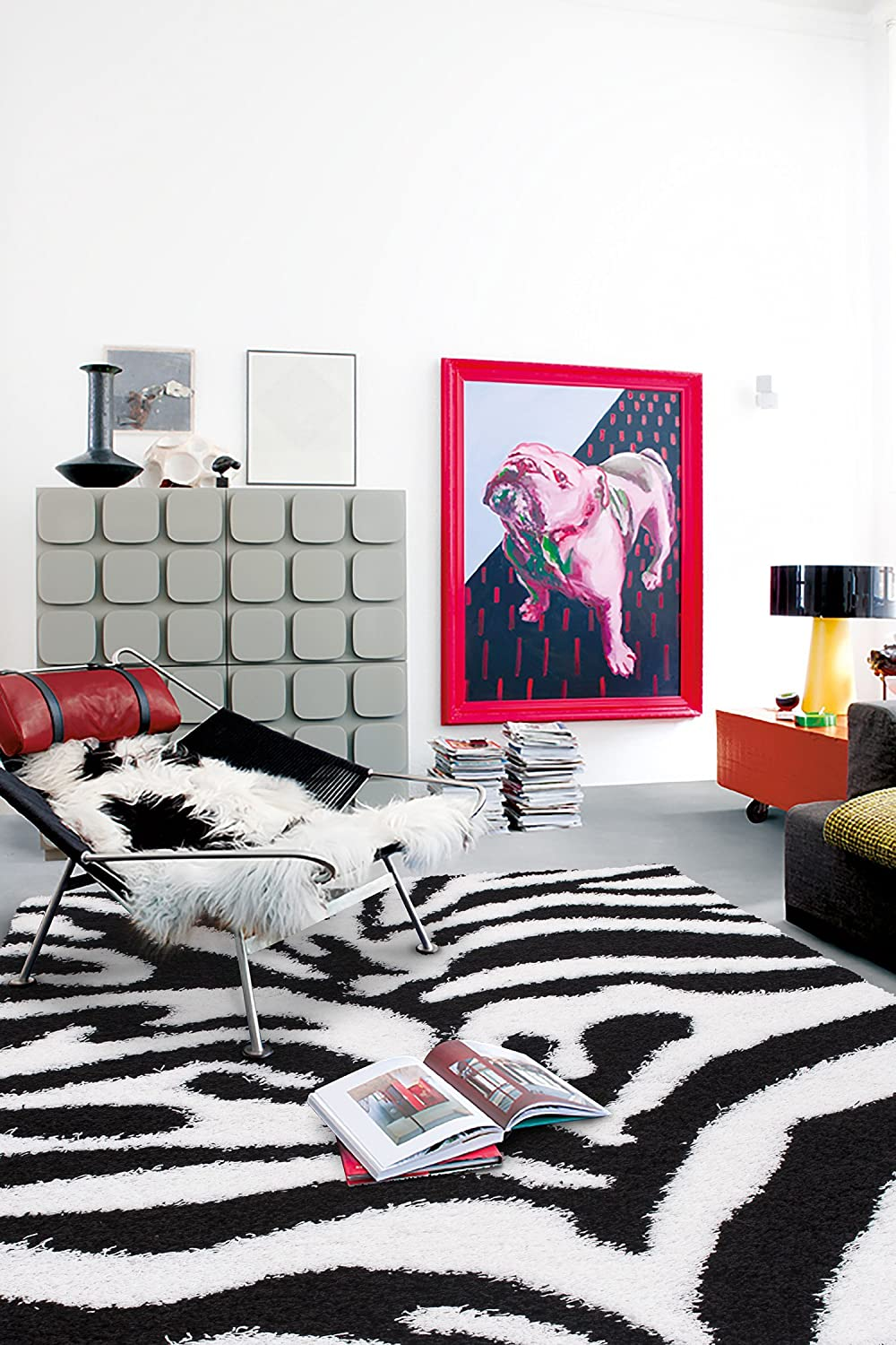 Cozy Shag Collection Black and White Zebra Design Shag Rug (5'0 X 7'0) Contemporary Living and Bedroom Soft Shaggy Area Rug Sweethome Stores COZY2803-5X7
