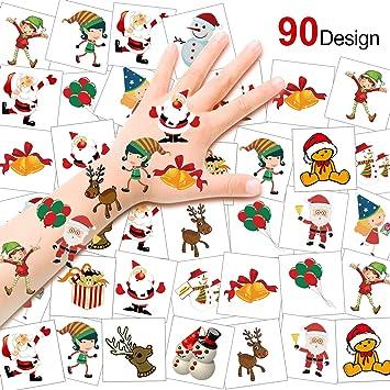 HOWAF 90pcs Navidad Tatuajes temporales para niños, Falso Muñeco ...