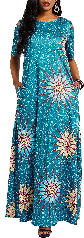 VERWIN Cold Shoulder Short Sleeve Print Floral Women's Maxi Dress Floor-Length Dress