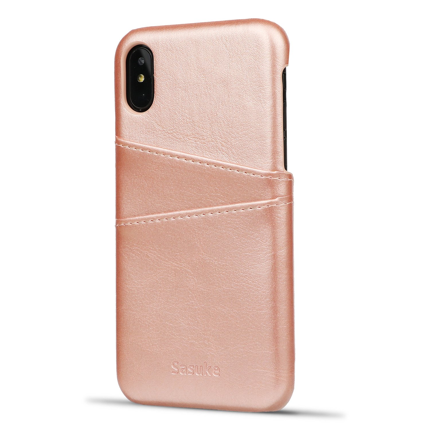 iPhone X Case,Leather Cover Card Case For iPhone X, Premium PU Leather Case with Business Credit Card Slot Holder, - Ultra Slim Professional Executive Snap On Cover with 2 Card Holder Slots (Rosegold)