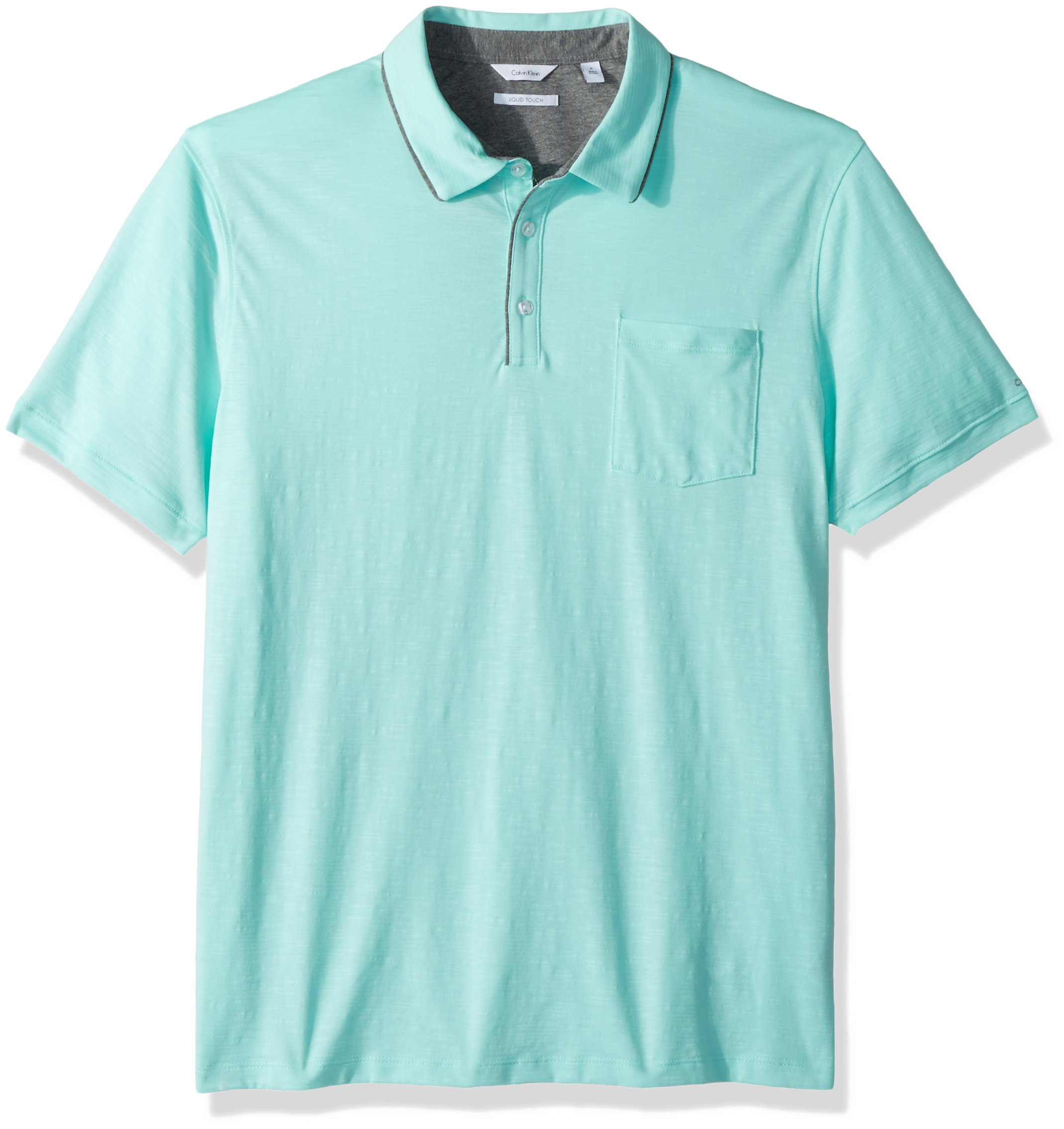 Calvin Klein Men's Short Sleeve Cotton Fashion Polo Shirt, Beach Glass, XL by Calvin Klein