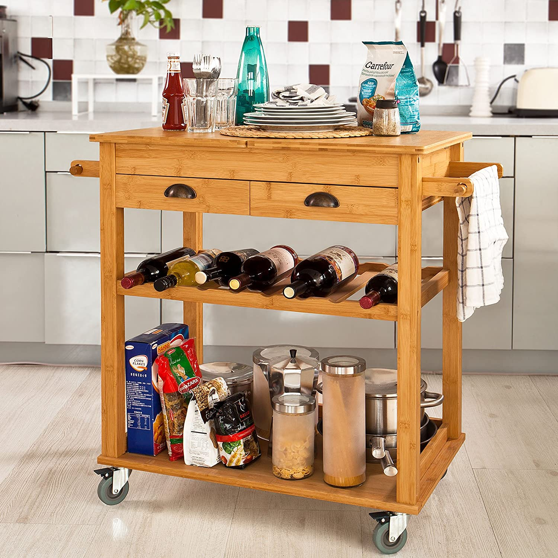 Sobuy Fkw08 N, Bamboo Kitchen Serving Trolley, Kitchen Storage Rack, L80Xw50Xh92Cm
