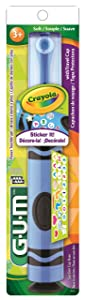 GUM Crayola Kids' Power Toothbrush with Travel Cap, Ages 3+, Assorted Colors