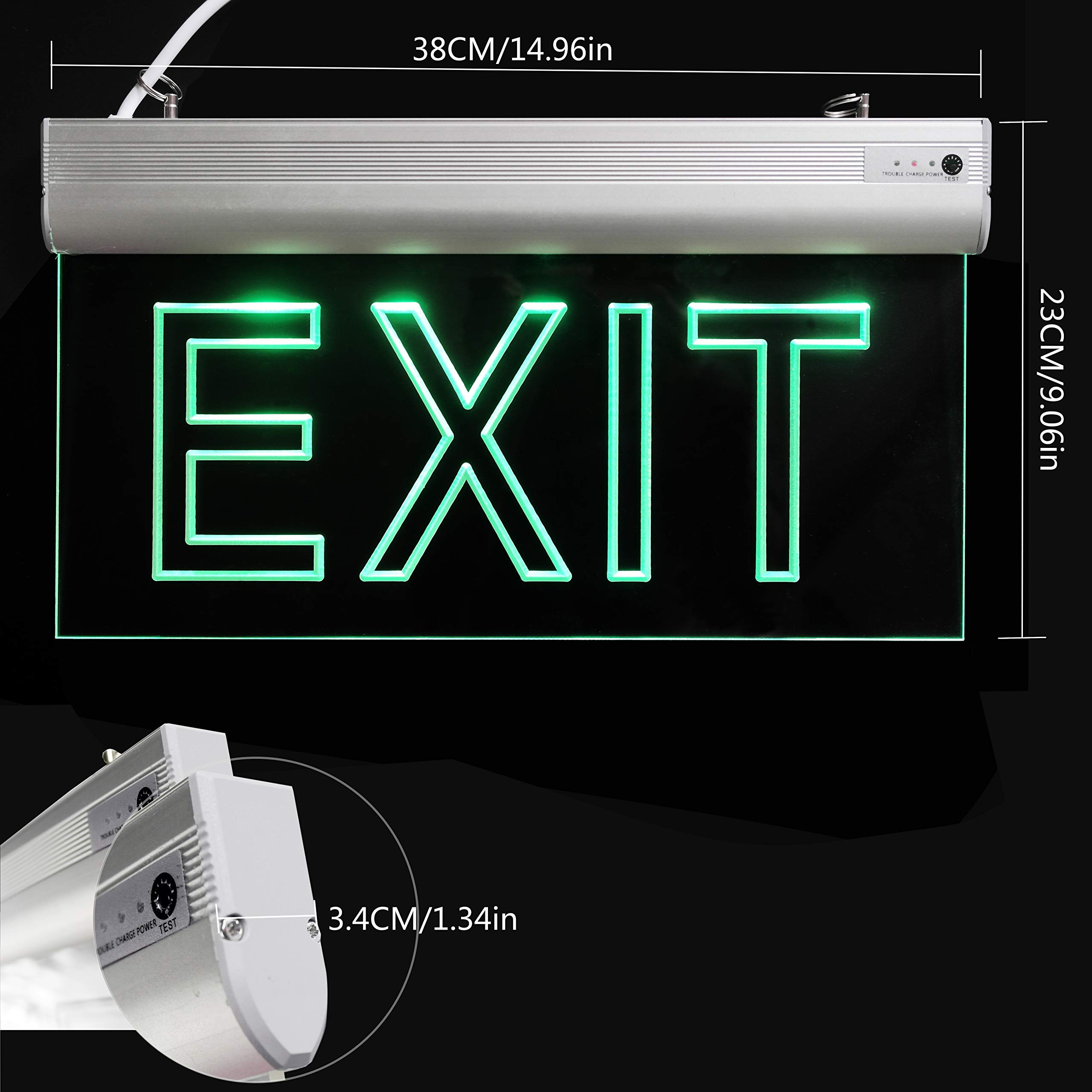 LFI Lights - 2 Pack - Certified - Hardwired Red LED Edge Light Exit Sign - Rotating Panel Battery Backup,Clear Panel(Green) by ryumei (Image #3)