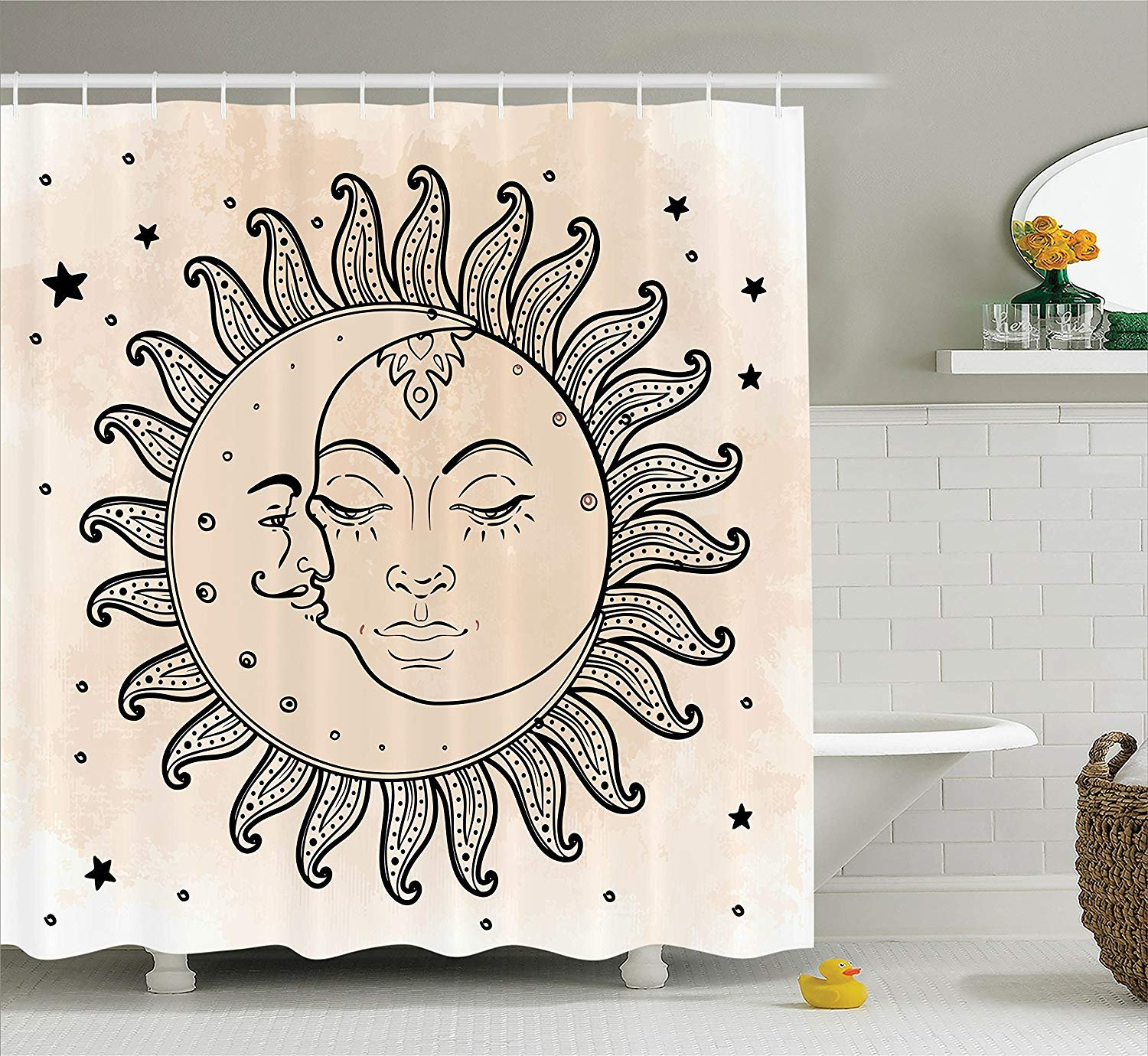Custom Made Sketchy Shower Curtain, Sun and Moon Celestial Figures Composition Day`s Cycle Mystical Inspiration, Fabric Polyester Waterproof 12 Stainless Steel Hook, 72 x 72 Inches Charcoal Tan