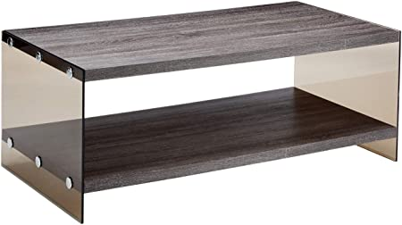 Coaster Home Furnishings Coffee Table with Glass Sides Weathered Grey