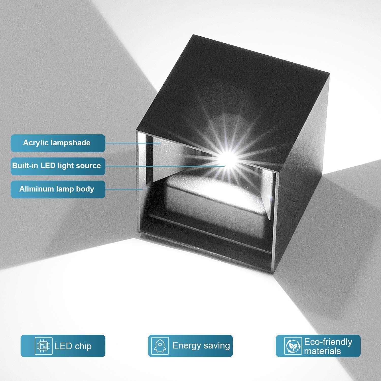 4 Pack 12W LED Wandleuchten Innen/Außen Wandlampe Auf und ab Einstellbarer Lichtstrahl 2700-3000K Warmweiß Außenwandleuchte LED IP65 Wasserdichte(Schwarz) 4 Pack Wandleuchte Weiß
