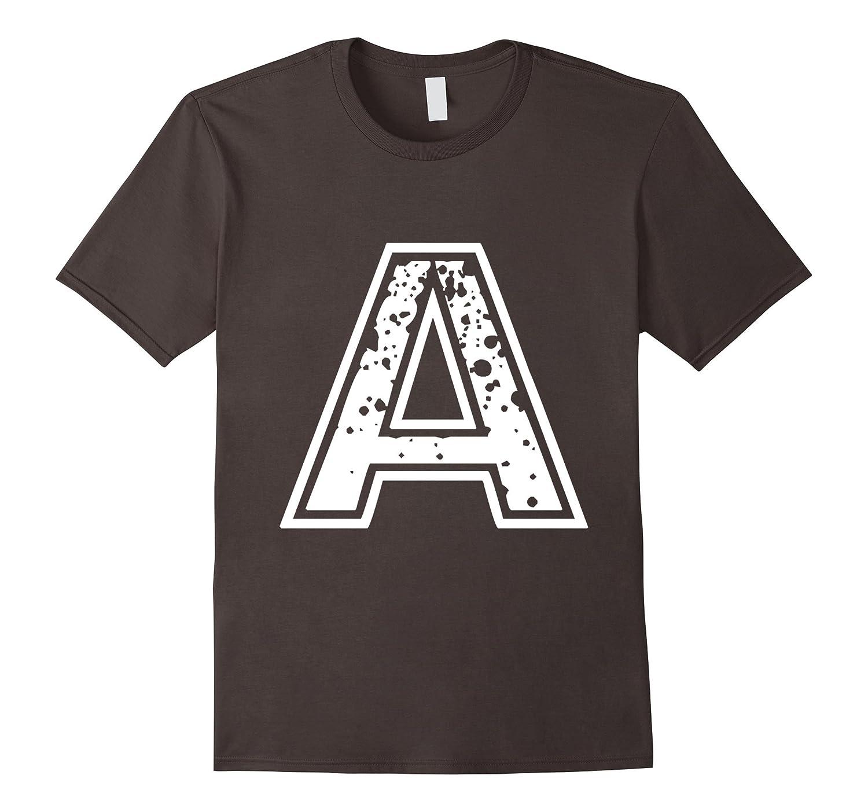 Big Capital Letter A Alphabet Vintage Distressed T-Shirt-RT