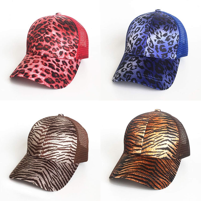 Eric Carl Fashion Leopard Ponytail Baseball Cap Women Messy Bun Baseball Hat Snapback Summer Casual Hip Hop Sport Hats
