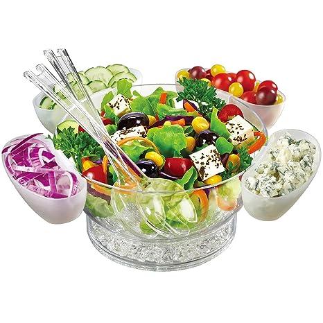 Jumbl – Cuenco para Enfriar Set | flotante ensalada vasos | servir cuchara & Tenedor