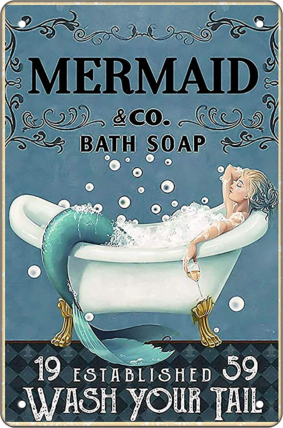 Funny Bathroom Metal Tin Sign Wall Decor Vintage Wash Your TailMermaid Tin Sign for Office Home Classroom Bathroom Decor Gifts Best Farmhouse Decor Gift Ideas for Friends 8x12 Inch