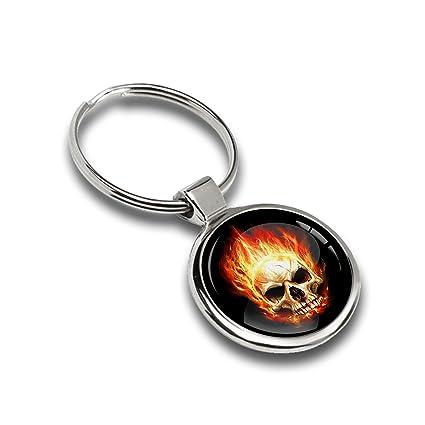 Llavero Sport Calavera con llamas fuego cráneo metal Keyring ...
