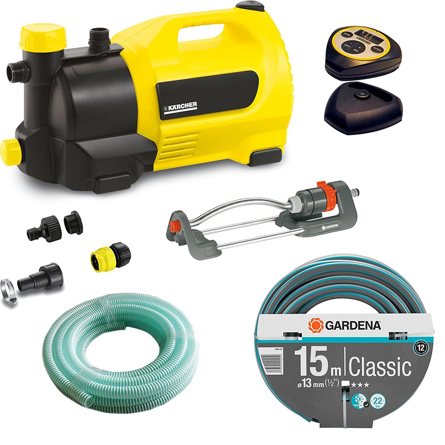 Karcher GP 50 MC Surface Water Pump with Garden Hose & Oscillating Sprinkler Kit 240v