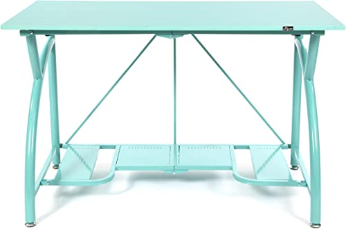 Origami Multi-Purpose fodable Steel frame Table,Sturdy Heavy Duty PC Computer Desk, Fully Assembled Large Craft Desk,Gaming Desk,Storage Space Saving Work Station, Home office,Turquoise