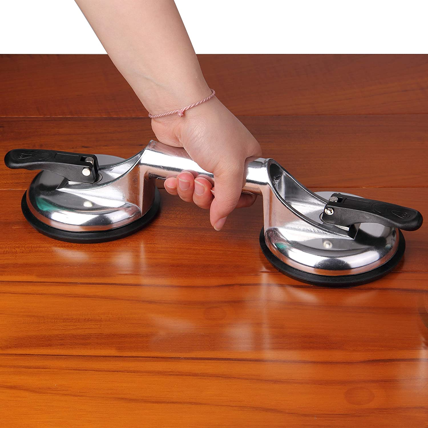Heavy Duty Aluminum Double Handle Suction Cup Plate Professional Glass Puller