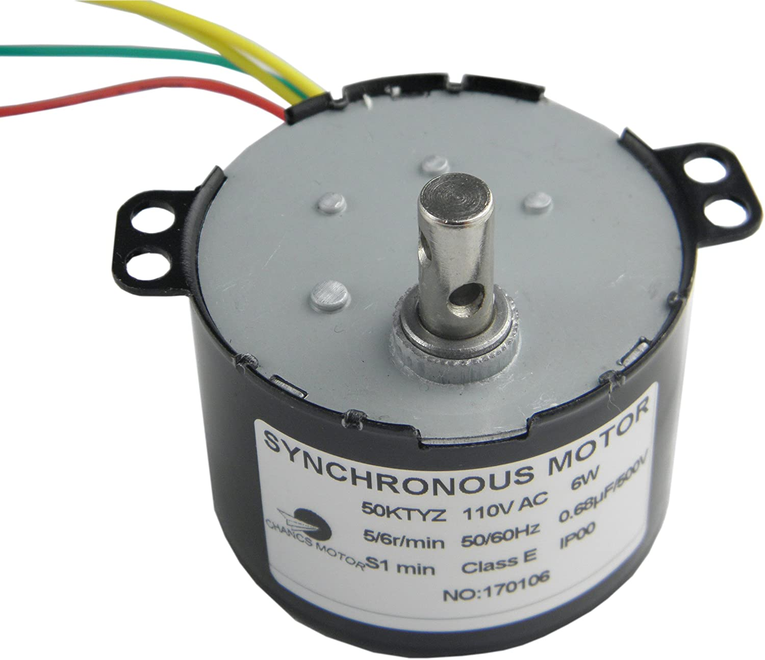 CHANCS 50KTYZ AC 110V 5/6RPM Synchronous Motor 6W CE Pass Gear Box Motor