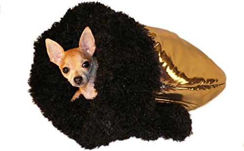 Green Panther Black Gold Pet Dog and Cat Snuggle Bed and Carrier Soft Stylish Tote for Small Dog or Puppy Pet Bed for Traveling Warm Winter Blanket for Pets Black Gold Puppy Pocket