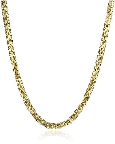 4b68dfebe1d96 Men's 14k Yellow Gold Italian 2.5mm Hollow Wheat Chain Necklace, 22