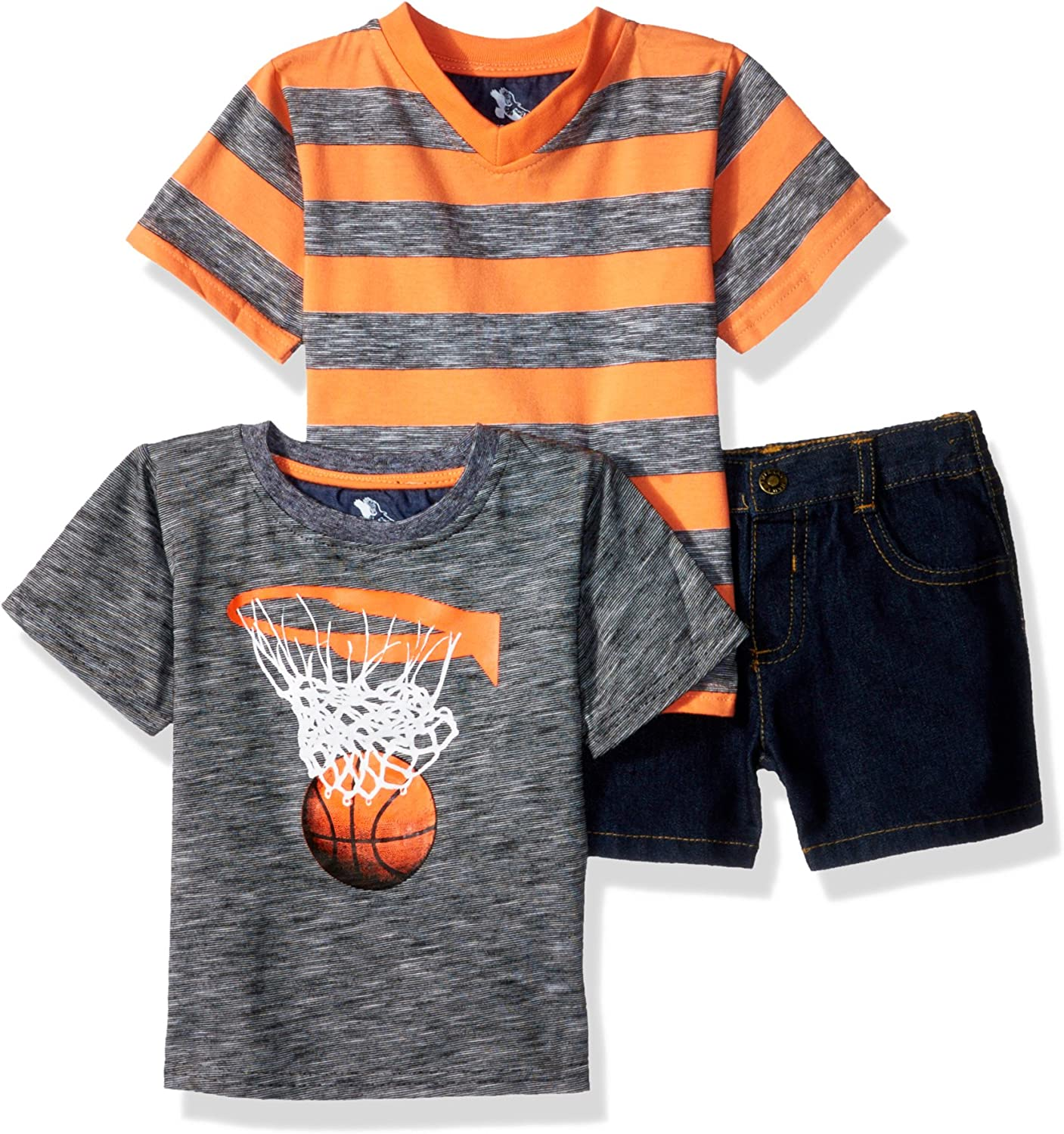 American Hawk Baby Boys 3 Piece Basketball V-Neck T-Shirt and Denim Short
