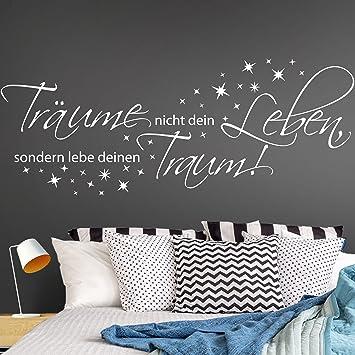 Spruch WANDTATTOO Träume nicht dein Leben Lebe Traum Wandaufkleber Sticker l