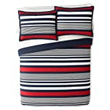 IZOD Varsity Stripe Comforter Set, Twin XL, Navy/Red