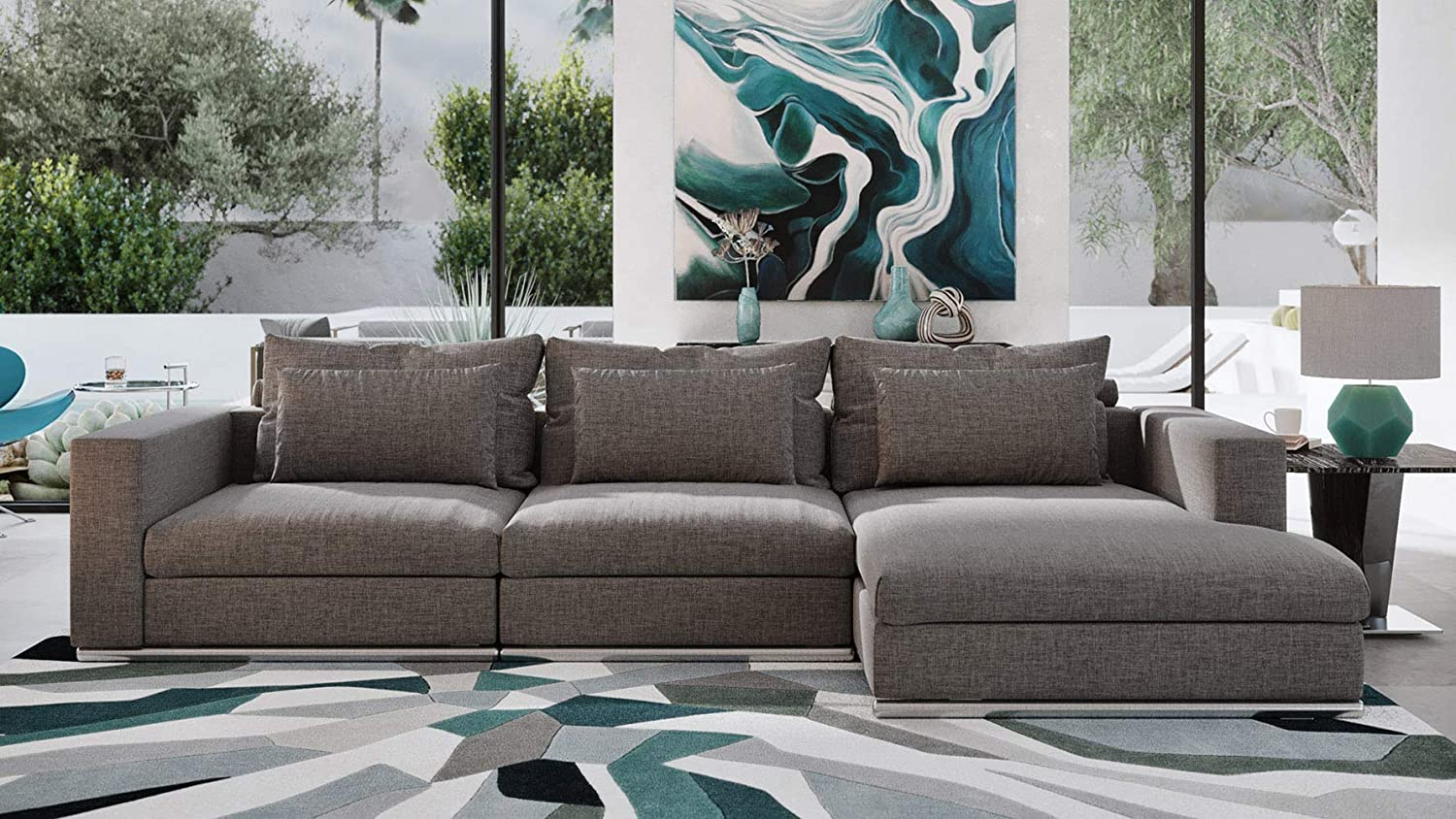 Zuri Furniture Soriano Right Chaise Sectional in Gray Fabric