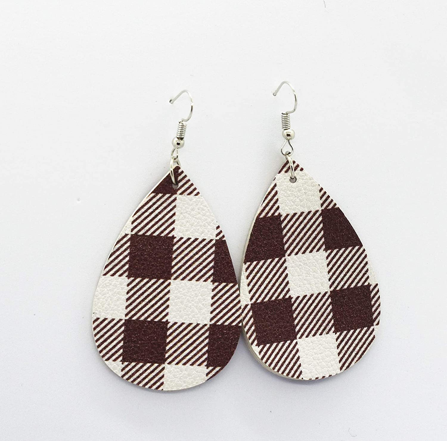 OFGOT7 Plaid Leather Earrings for Women Handmade Lightweight Teardrop Dangle Faux Leather Statement Earrings for Girls