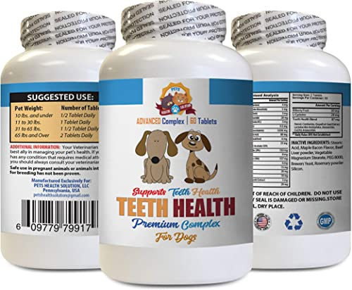 Dog Dental Treats Large – Dog Teeth Health Care – Advanced Complex – Eliminate Bad Breath Plaque Build UP – Healthy Gums – Dog Coq – 60 Tablets 1 Bottle
