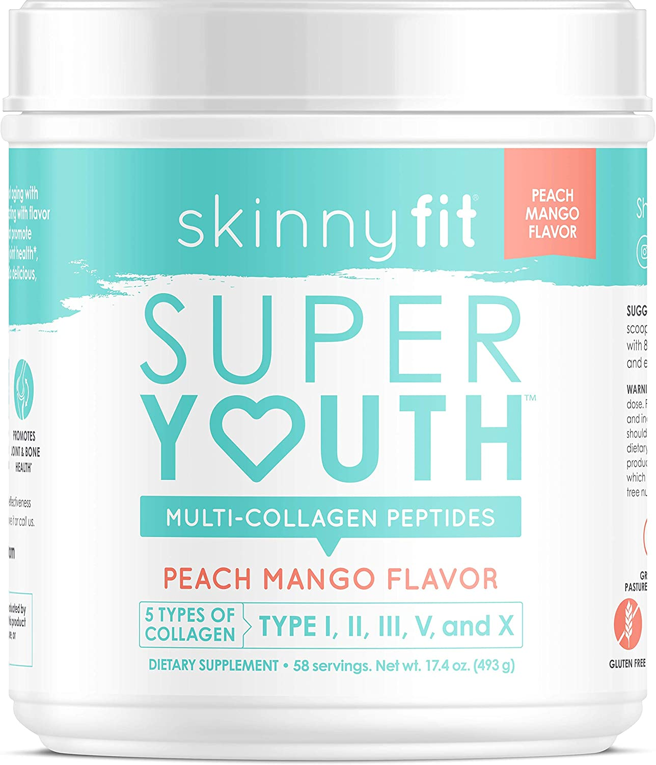 SkinnyFit Super Youth Collagen Powder Peach Mango, Types I, II, III, V and X, Joint & Bone Support, Glowing Hair, Skin, and Nails, 58 Servings