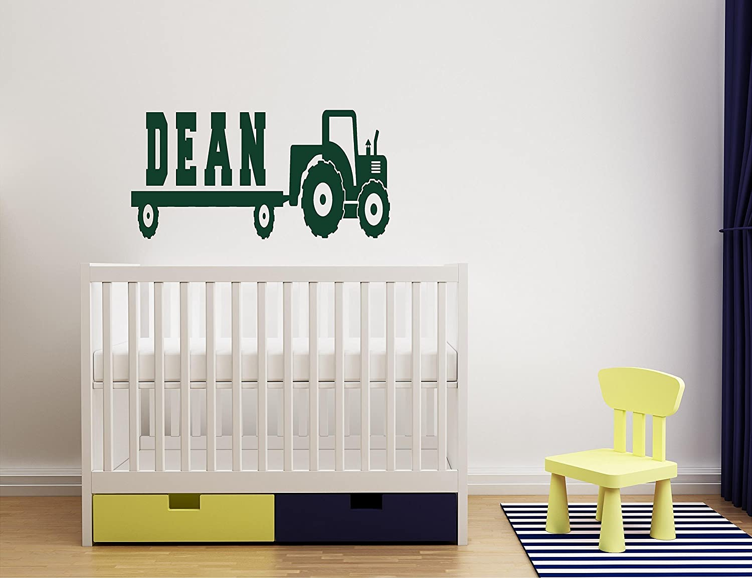 Personalized Boys Tractor and trailer Name Monogram Decal